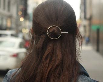 Open circle hair slide silver hair clip hammered brass hair barrette minimalist rustic copper hair accessories wholesale woman's accessories