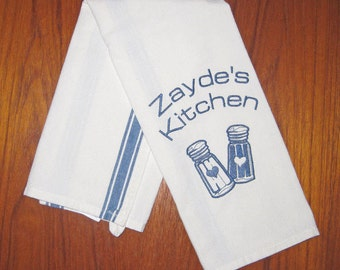 Zayde's Kitchen Embroidered Side Striped Tea Towel Blue