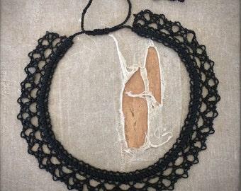Knotted Lace Choker - Armenian Lace - Oya - Crochet - Basket Stitch
