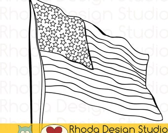 American Flag Old Glory Stamp Digital Line Art Clip Art Retro