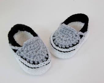 Baby Booties  Crochet Sneakers Slip-on Vans Style Baby Shoes Slippers
