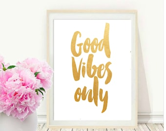 Good Vibes Only Print, Printable Wall Art, Typography Art, Watercolour art, Typography Print, Modern Wall Art, Instant Download