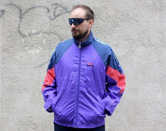 Vintage Diadora track top / Mens zip front jacket / Patta sports multicolor jersey / Oldschool sports coat Italy N92 / 80s 90s L XL