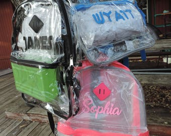 Clear Backpack Personalized - Transparent Full Size Backpack in 3 Colors