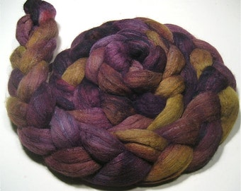 Polwarth & tussah silk roving 4.5 oz Spring Tulips - hand dyed spinning felting fiber - earthy hand painted wool top - green purple fibre