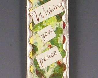 Christmas Ornament Handmade -  Up-cycled Microscope Slide Ornament - Bird Style