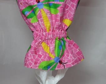 Plastic Grocery Bag Holder/Trash Bag Holder/Dragonflies and Stripes / Organize Neaten Kitchens/Bathrooms/Campers/Great Gift