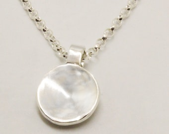Sterling Silver Domed Pendant with Sterling Silver Link Chain. Handmade Jewellery from the UK. Necklace perfect for gift/present.
