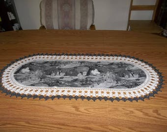 Halloween Table Runner Crocheted Haunted Halloween Table Runner Fabric Center Table Topper Table Centerpiece Table Cloth Dresser Scarf