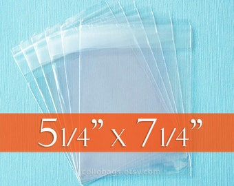 "200 5 1/4 x 7 1/4 Inch Resealable Cello Bags for 5x7 Photos, Tape on Flap, Acid Free (5.25"" x 7.25"")"