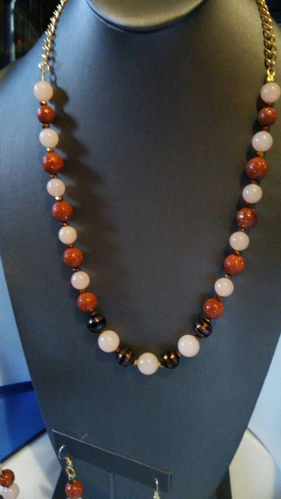 My Universe 3 piece jewelry suite Peach Quartz Goldstone and Italian glass beads