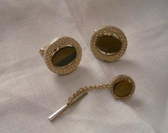 Vintage Brown Stone Cufflinks and Tie Tack