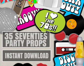 35 Seventies Printable Party Photo Booth Props, 70s photo props, I love 70s, groovy photobooth props, 1970s party props, instant download
