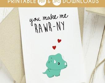 valentines printable, dinosaur love card, funny valentine, valentines card, naughty valentines card