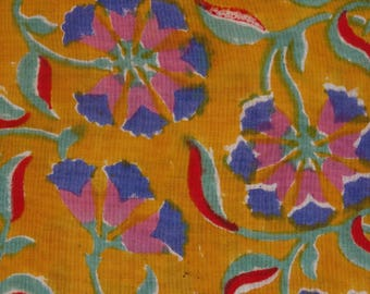 fabric, block print with border, pansies, yellow and blue flower collection