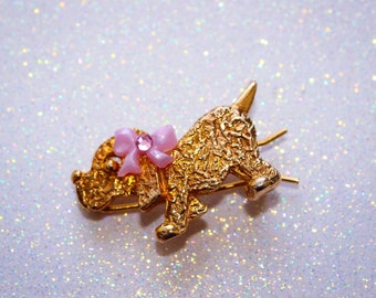 Vintage Puppy Hair Barrette with Bow and Crystal