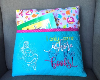 Reading pillow - Mermaid fabric Reading Pillow - Book Pocket Pillow - Reading Gift - Gift for Reader Birthday Gift Idea - Paris gift