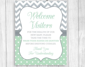 SALE Please Wash Your Hands 8x10 Printable Meet and Greet Baby or Hospital Door Sign Mint and Gray - Hand Sanitizer Sign - Instant Download