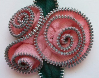 Pink Abstract Floral Brooch / Zipper Pin by ZipPinning 2965