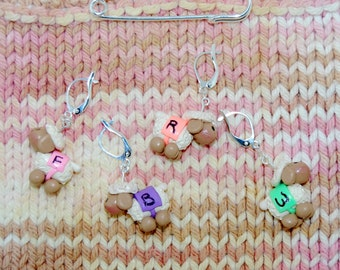 Coated Sheep Directional knitting or crochet stitch markers - Set of 4 - Polymer Clay