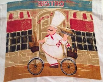 Bistro Bicycle Riding Chef Crochet Top Towel  (R25)