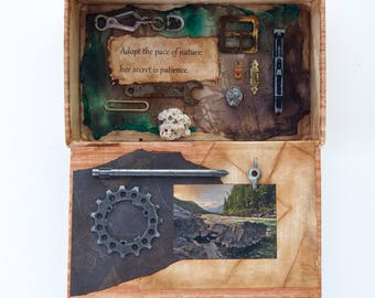Assemblage Cigar Box - Assemblage Art - Mixed Media - Nature -Found Objects