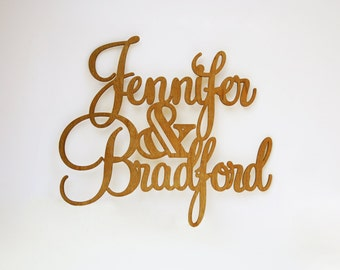 Wedding Sign with Couple's Names, 3D Customized Laser Cut Name Sign