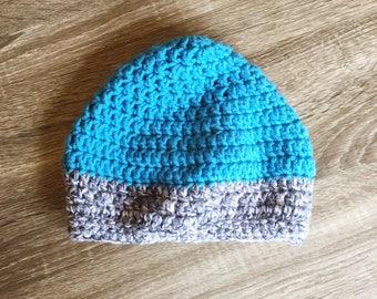 Just A Little Slouchy Crochet Beanie (Teal/Aquamarine/Gray)