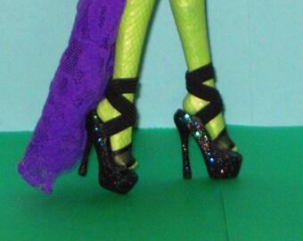 Monster Doll shoes FIERCE BLACK Platform shoes for Monster High 10.5 in, Ever After High, Monster High doll clothes, custom doll shoes