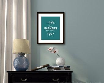 Custom Family Name Art Print - Family Sign - Personalized Wedding Poster - Vine Leaves - Dark Teal