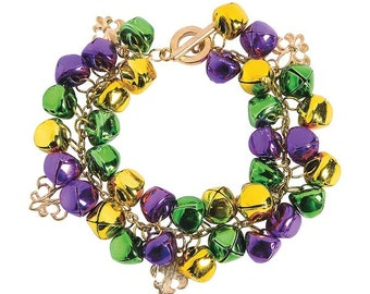 Mardi Gras Jingle Bell Bracelet