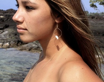 14kt Gold Filled Hoops Adorned with Hawaiian Puka Shell
