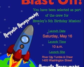 Rocket Ship Party Invitation