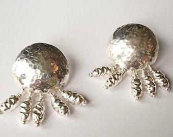 Sterling silver handmade textured drop earrings, hallmarked in Edinburgh.