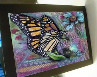 greeting card print of original art- butterfly floral Zentangle spirit animal