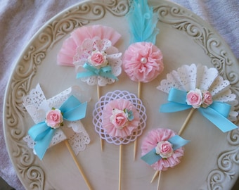 Birthday Decoration Mother's Day Marie Antoinette Inspired Cupcake Toppers Set of Six for Birthday Party