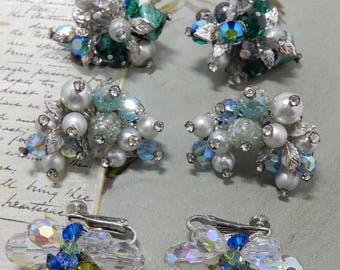 3 pr. VENDOME Signed Blue/Green Crystal & Rhinestone Clip Earrings Set   OEO23