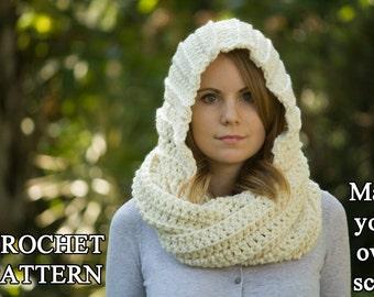 CROCHET PATTERN Hooded Scarf Pattern, Crochet Scoodie Instant Download