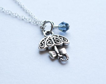 Umbrella Necklace with Custom Birthstone- 925 Sterling Silver or Silver Tone Chain- Blue Rain Swarovski- Its Raining Its Pouring
