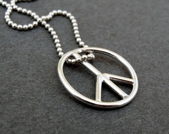 PEACE sign pendant in sterling silver - small 3/4 inch