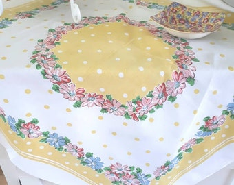 VINTAGE COTTON TABLECLOTH, small bistro cloth or topper, yellow and white cloth with polka dots, blue and pink floral, excellent condition