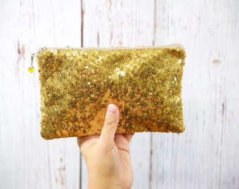 Gold Sequin Clutch- Bridesmaid Clutch- Bridesmaid Gift- Clutch Bag- Gold Clutch- Bridesmaid Proposal- Bridal Clutch- Maid of Honor Gift