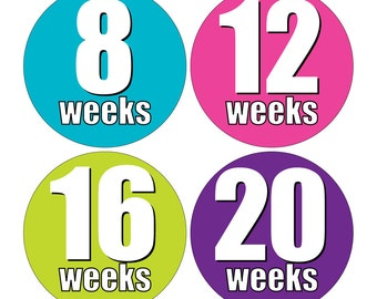 12 Weekly Pregnancy Mama-to-be Maternity Waterproof Glossy Stickers  - Monthly stickers available - Design W006-02