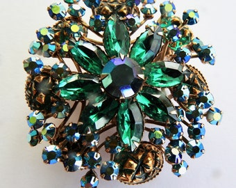 Green Rhinestone and Aurora Brooch
