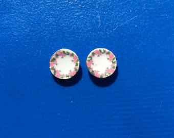 Set of 2 Peach Blossom Saucer Charms for Use with Peach Blossom Tea Cup Charms