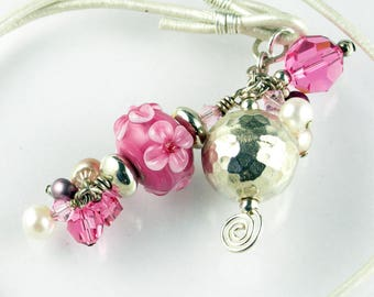 Cluster Charm Lampwork Glass Pendant Leather Long Necklace with Sterling Silver Gemstones Pearls and Crystals in Pink Pearl White