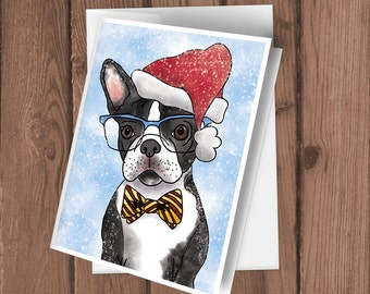 Set of five cute Boston Terrier wearing glasses watercolor Holiday Blank cards with envelopes