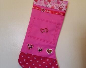 "Valentine ""Double Hearts"" Stocking"