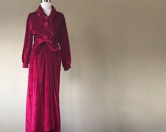 S / Carole Hochman / Prima Donna / Robe / Cherry Red / Long / Velour / Small