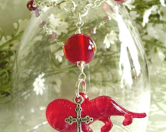 Red Lion with Cross Anglican Rosary Bracelet - July Birthstone